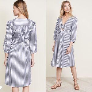 Madewell Shimmer Stripe Cutout Poplin Midi Dress